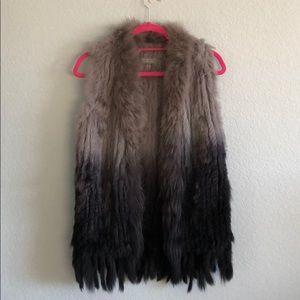 Bagatelle grey black ombré fur vest XS